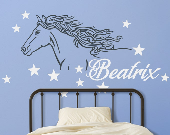 Horse wall decal-  personalized wall decal, name decal, horse lovers, children's room, nursery, equine, cowboy, cowgirl, bedroom
