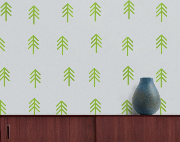 Green trees wall decal- tree pattern, green forest decals, woods, outdoors, wilderness art, tree stickers