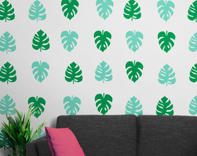 Tropical leaves wall decals, monstera leaf design, leaf motif, leaf pattern wall decal, swiss cheese plant, green leaf stickers