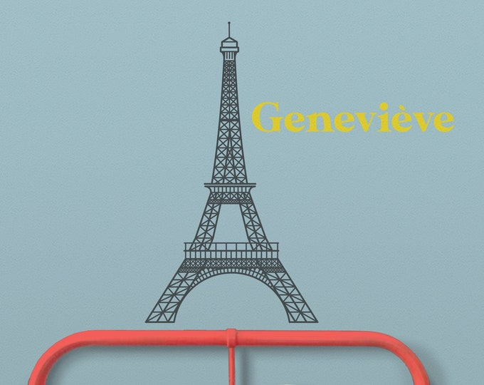 Eiffel tower wall sticker, personalized name decal, custom name decal, francophile, children's room, nursery, Paris, France