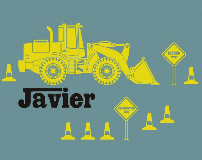 Yellow Bulldozer wall decal- personalized construction equipment, custom name decal, heavy equipment sticker, yellow machine