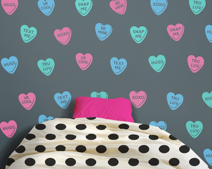 Candy hearts wall decal- hearts pattern, sweethearts wall stickers, teen wall decor, love wall decor, personalized heart decal, valentines