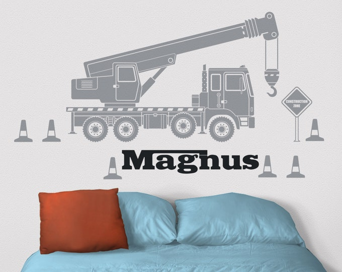 Crane wall decal- custom name decal, construction equipment art, heavy equipment sticker, personalized decal, children's room, nursery decor