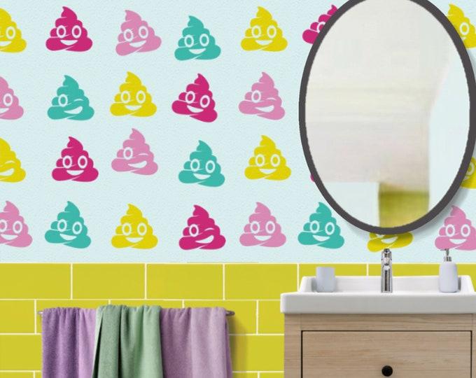 Unicorn poop wall decal set- poop emoji stickers, poo emoji, kitsch art, poo emoji art, campy art, fun bathroom decor, bedroom art