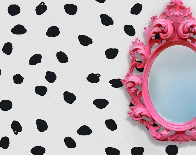 Dalmatian print wall decal- black polka dot, polka dot pattern, vinyl wall decals, polka dot stickers, Dalmatian spots, black spots