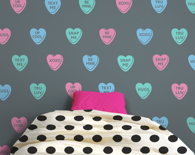 Candy hearts wall decal- hearts pattern, sweethearts wall stickers, teen wall decor, love wall decor, personalized heart decal, fun decor