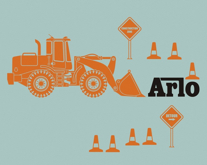 Orange Bulldozer wall decal- personalized construction equipment, custom name decal, heavy equipment sticker