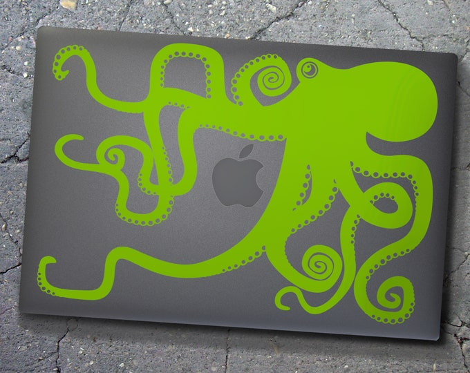 Green octopus macbook decal- laptop sticker, lime green, illustrated octopus design, sea animal art, octopus sticker