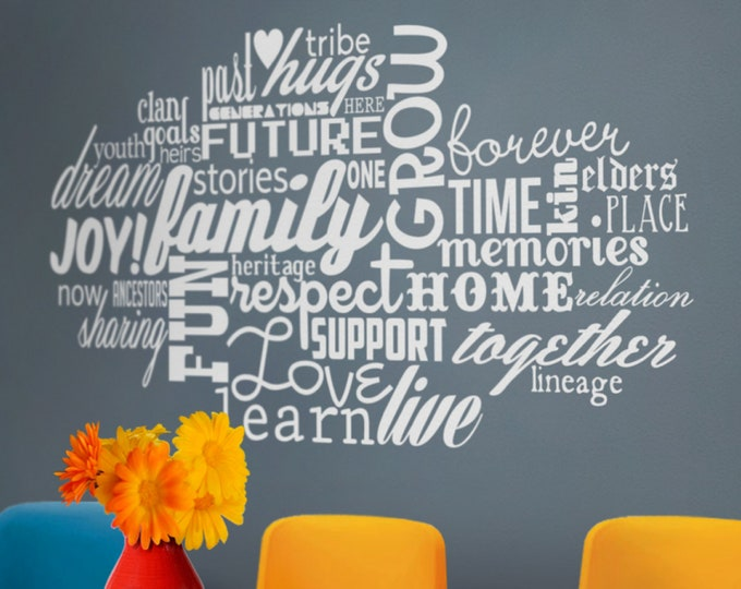 Word cloud wall decal, custom word cloud, personalized words wall sticker, word art