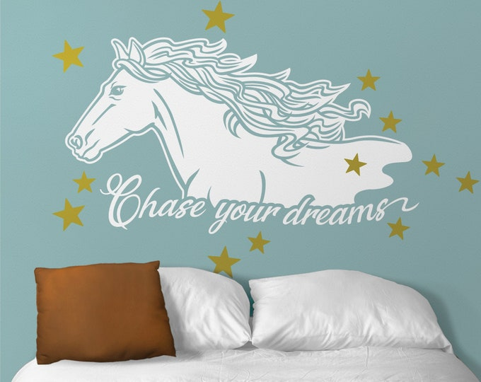 Horse wall decal- Chase your dreams quote, motivational quote, horse lovers, whimsical, children's room, nursery, equine, uplifting