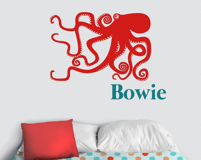Octopus wall decal personalized- custom name sticker, sea animal art, kids room, nursery decor, cute animal decal