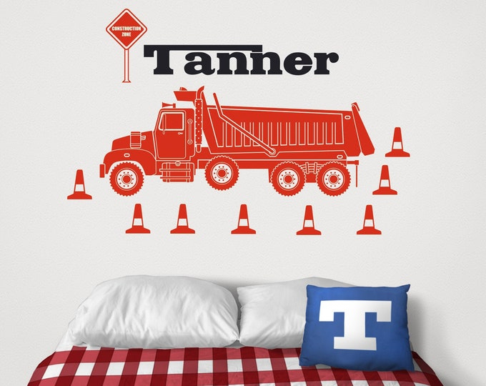 Dump truck wall decal- personalized decal, heavy equipment sticker, construction equipment art, custom name decal,  gift for boys