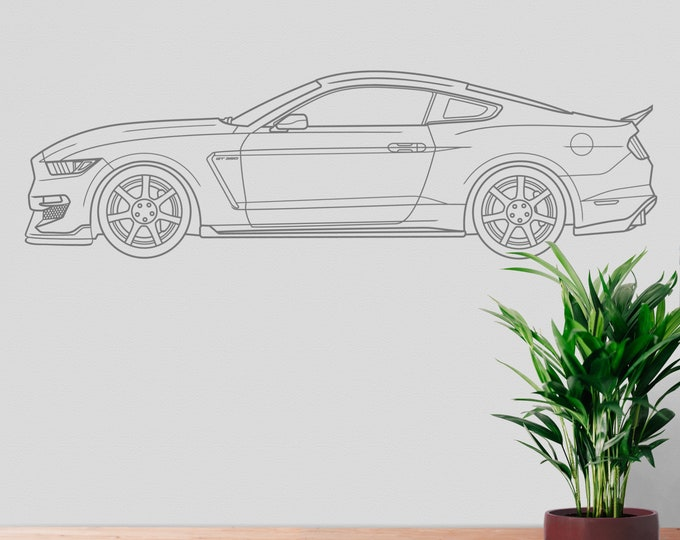 Ford Shelby Mustang wall decal, 2019 GT 350, pony car, auto blueprint art, automobile design, muscle car, car lover gift, American car