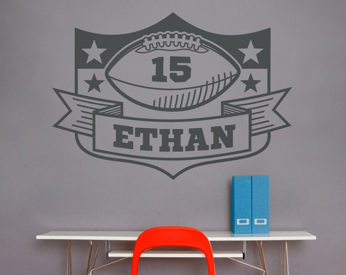 personalized football wall decal, custom sports sticker, bedroom sports decor