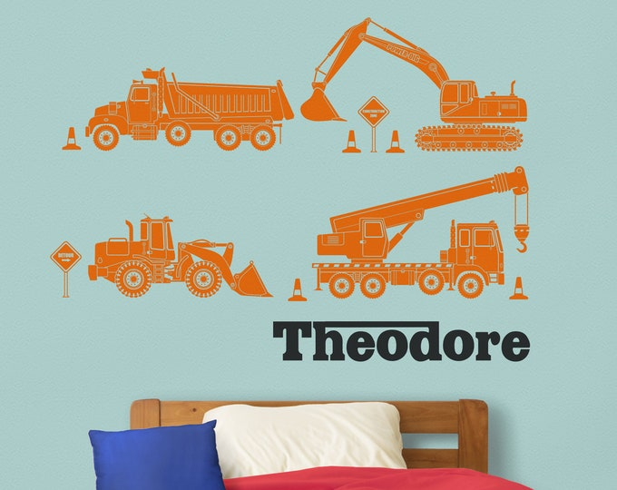 Construction equipment wall decals- personalized decal, custom name decal, heavy equipment sticker, children's room, nursery decor
