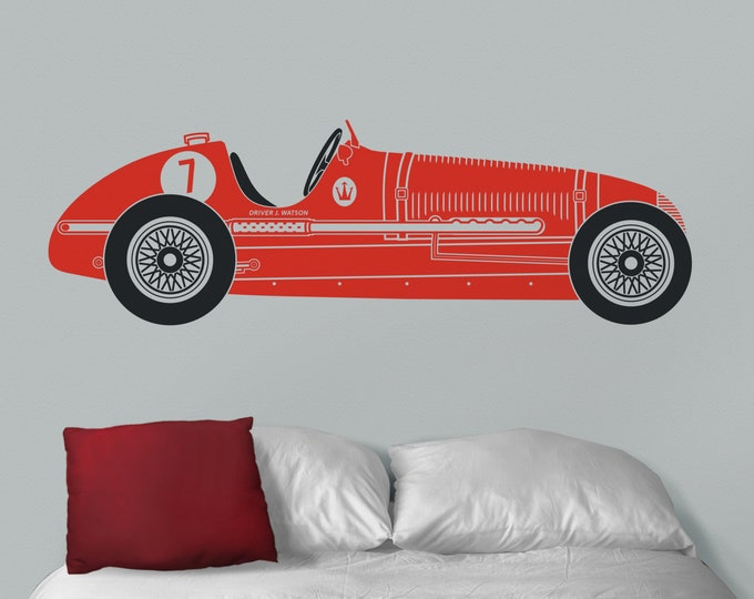Red race car wall decal- red Maserati art, vintage race car, personalized car decal, car lover gift, automobile art, gift for boys