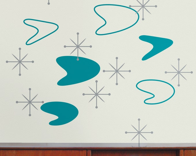 Turquoise boomerang wall decal- vintage boomerang, starburst wall decals, 50s design, mid century modern, teal, turquoise, mint