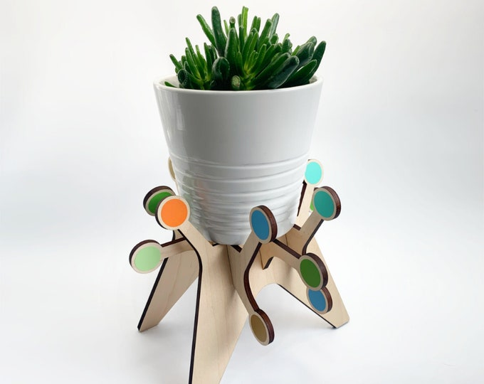 SPUTNIK starburst plant stand, starburst design, plant holder, mid century modern, mcm inspired, indoor plant stand, plant riser, retro