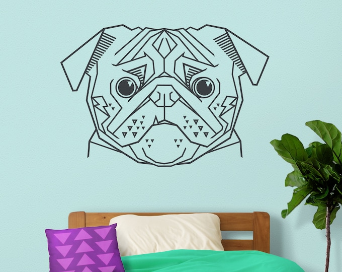 Geometric pug wall decal- animal art, statement wall decor, cubist art, pug stickers, dog stickers, dog lover gift, unique pug art