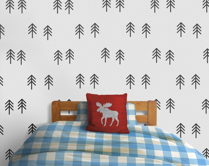 Forest trees wall decal- tree pattern, forest decals, woods, outdoors, wilderness art, tree stickers, forest art
