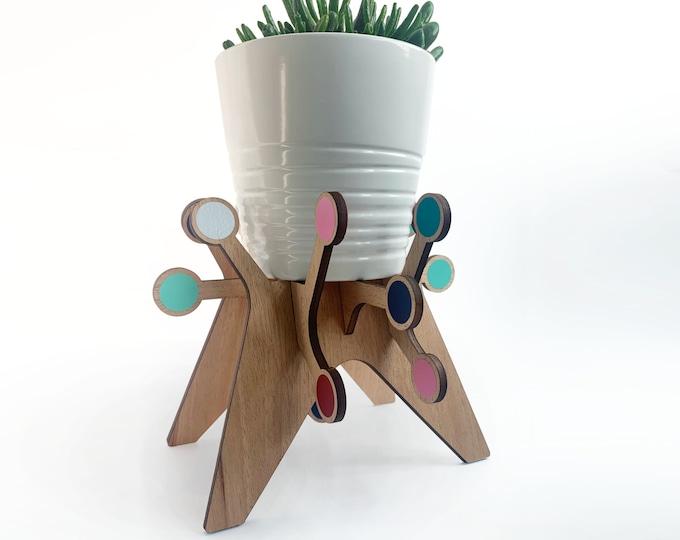 SPUTNIK atomic starburst plant stand, mahogany, plant holder, mid century modern, indoor plant stand, plant riser, house plant