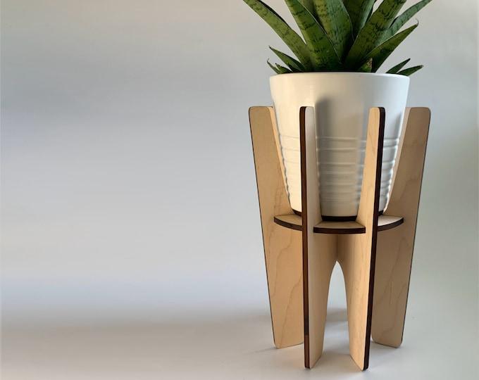 Wood plant stand, indoor plant holder, MONTCLAIR , wooden plant pedestal, mid century modern, retro design, house plant riser, modern design