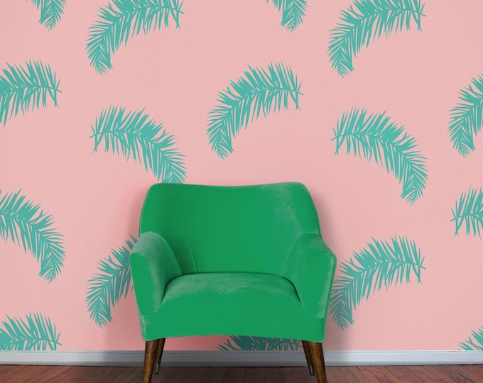 Tropical decor wall decal- fern motif, botanical pattern, tropical decor, vintage 80s, retro eighties, fern leaf pattern, tropical leaves