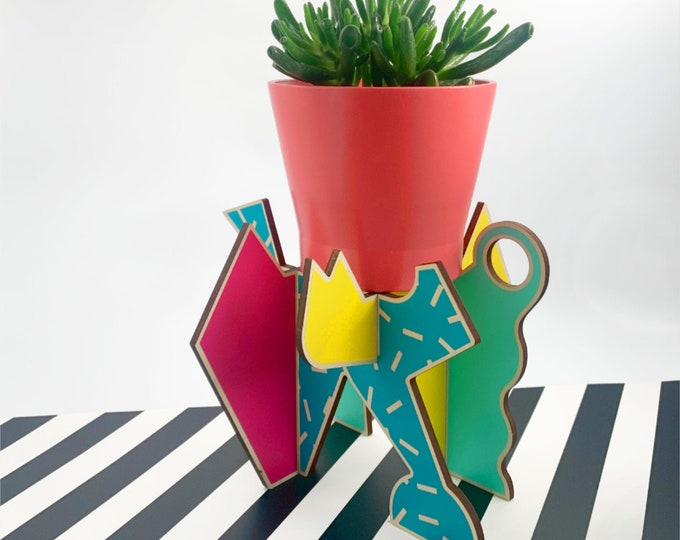 MILANO 80's style plant stand, Memphis group design, plant holder, retro 80's, indoor plant stand, plant riser, abstract design, house plant