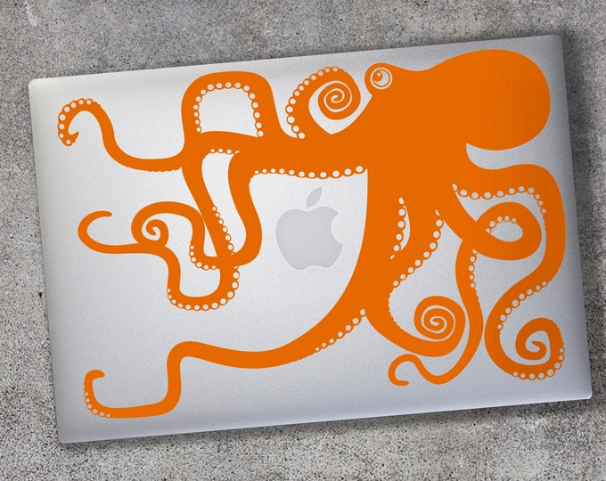Orange octopus macbook decal- laptop sticker, tentacles decal, illustrated octopus design, sea animal art, octopus sticker