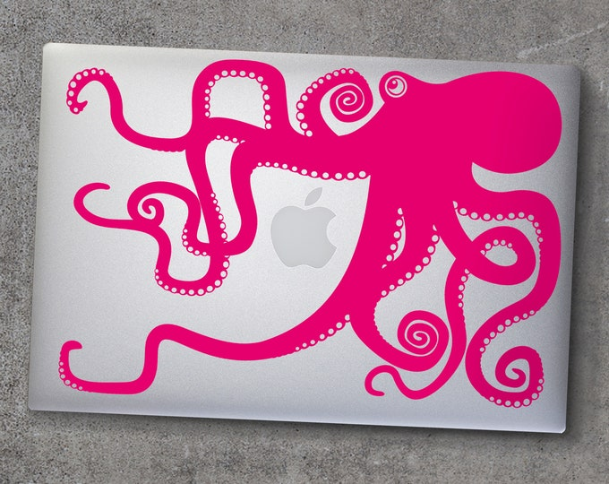 Pink octopus macbook decal- laptop sticker, hot pink, illustrated octopus design, sea animal art, octopus sticker