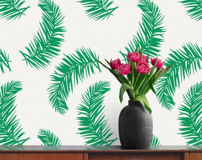 Tropical leaf wall decals- palm fronds, fern motif, botanical pattern, tropical decor, vintage 80s, retro eighties, palm tree leaves