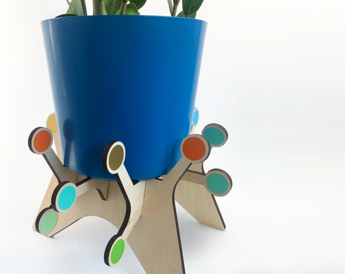 "KOSMOS starburst plant stand, house plant holder, for 5"" pot, atomic starburst, mid century modern, indoor plant stand, plant riser, retro"