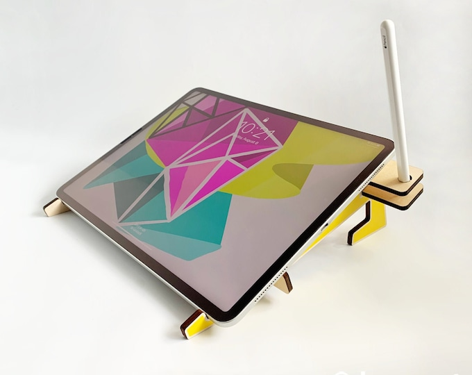 XR 3000 iPad stand, wood tablet stand, dual function tablet stand, wooden iPad holder, stylus holder, Apple pencil holder