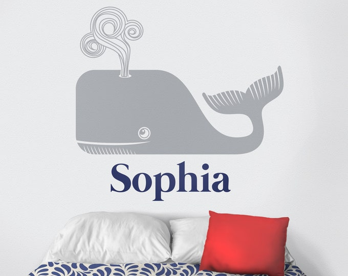 Personalized whale wall decal- custom name, cute animal art, name sticker, nautical art, nursery decor, children's room, whale motif