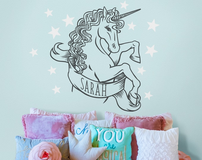 Unicorn wall decal- whimsical art, custom name decal, fantasy art, fantasy animal art, personalized wall decal, gift for girls, majestic af