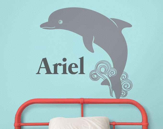 Dolphin wall decal- custom name decal, cute animal art, nursery decor, kids room, undersea animals