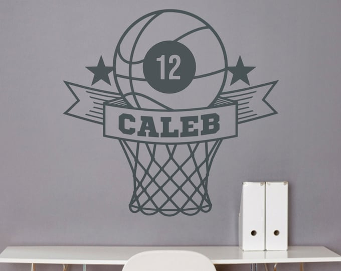 Basketball wall decal- custom name decal, custom sports sticker, sports room decor