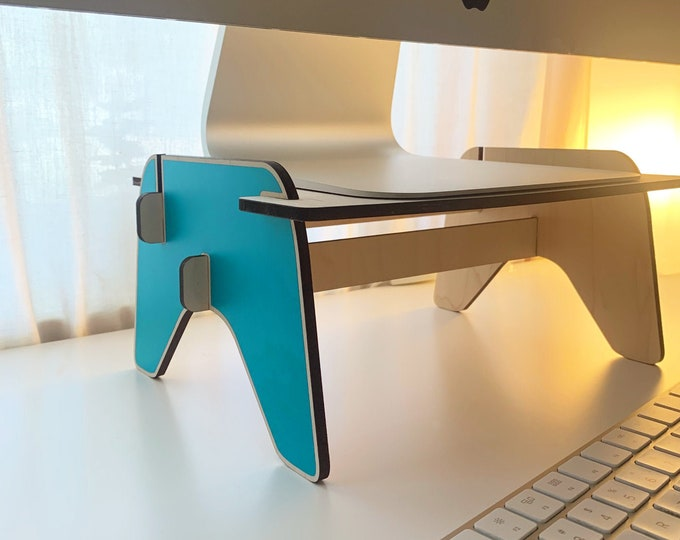 MINTO monitor stand, wood monitor riser, iMac stand, dual monitor stands, desktop stand, monitor pedestal, display stand