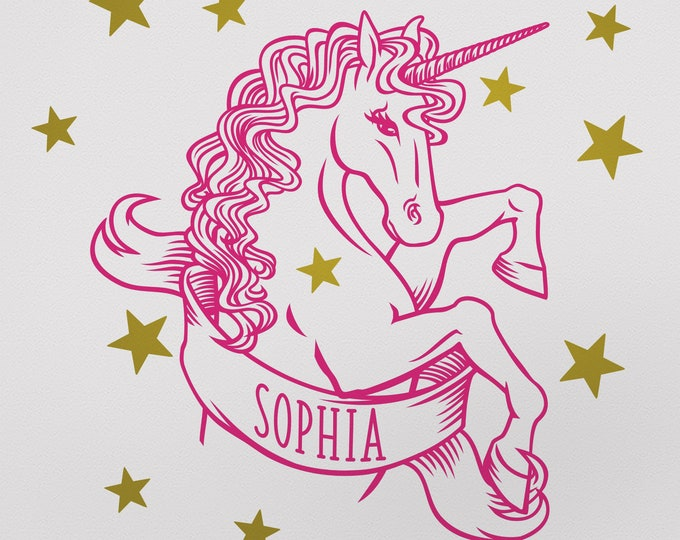 Pink unicorn wall decal- personalized unicorn, fantasy art, whimsical art, custom name, name decal, legendary creature