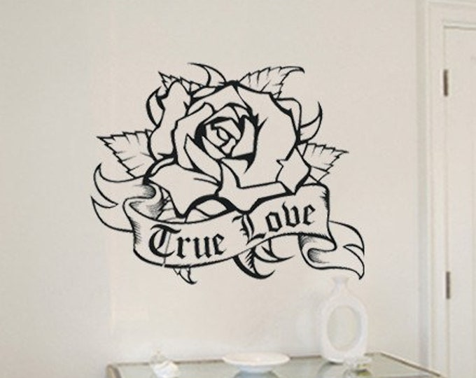rose wall decal, traditional tattoo wall art, custom decal, personalized sticker art, flower decal, FREE SHIPPING