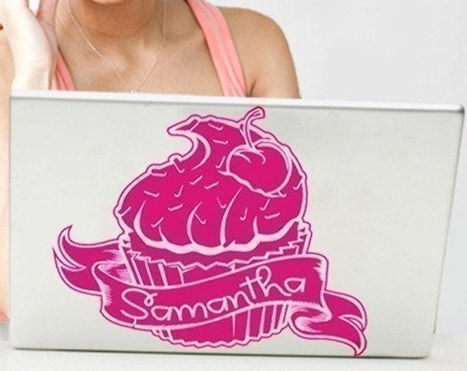 cupcake laptop decal personalized, custom cupcake laptop sticker, FREE SHIPPING