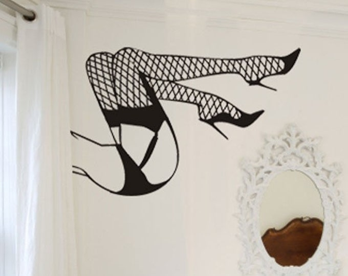Sexy legs wall decal- pinup art, burlesque art, fishnet stockings, boudoir art, pinup decal, pin-up sticker, boudoir art, bedroom decor