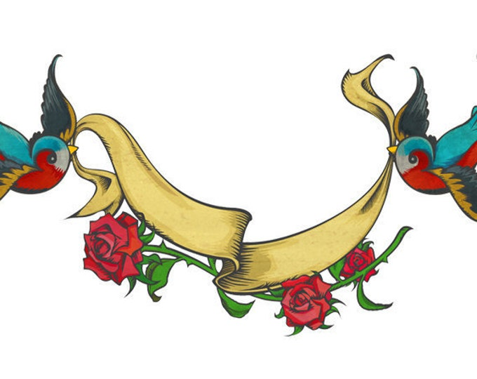 traditional swallow tattoo clip art, royalty free tattoo art, INSTANT DOWNLOAD