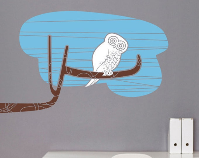 owl wall decal, owl tree branch sticker, mid century modern owl sticker art, bird art, girls room, boys room, nursery decor