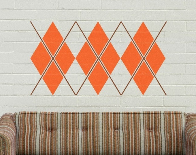 argyle wall decal, tartan geometric patterns sticker art, preppy decor, scottish argyle design, argyle decor, living room art