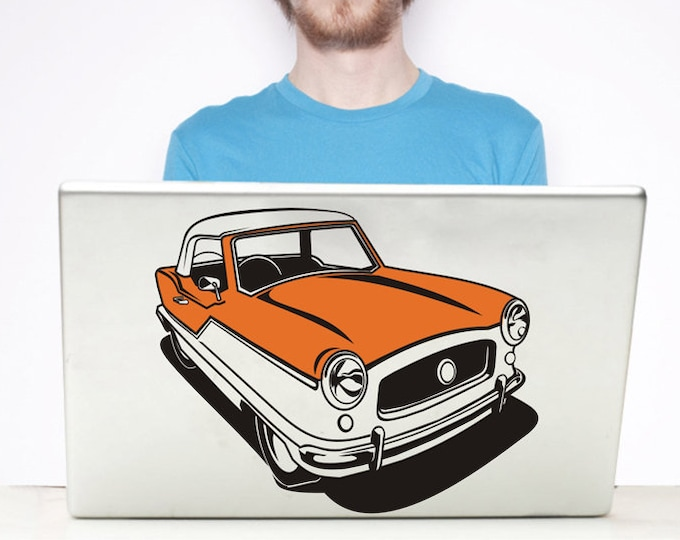 retro car laptop decal, nash metropolitan sticker art, mid century automobile, FREE SHIPPING