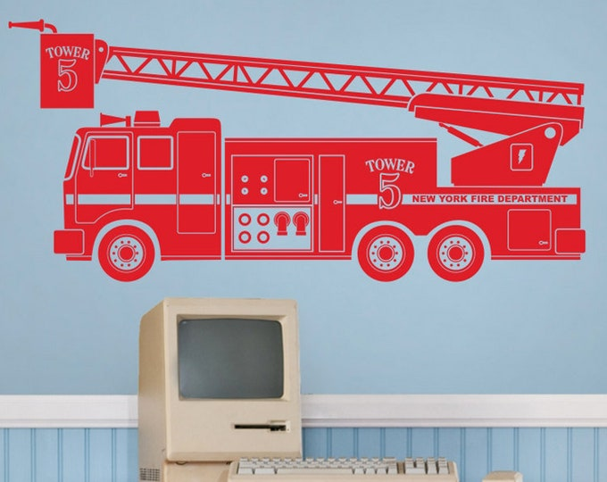 fire truck wall decal, fire department art, custom truck sticker, kid's room decor, gift for boys