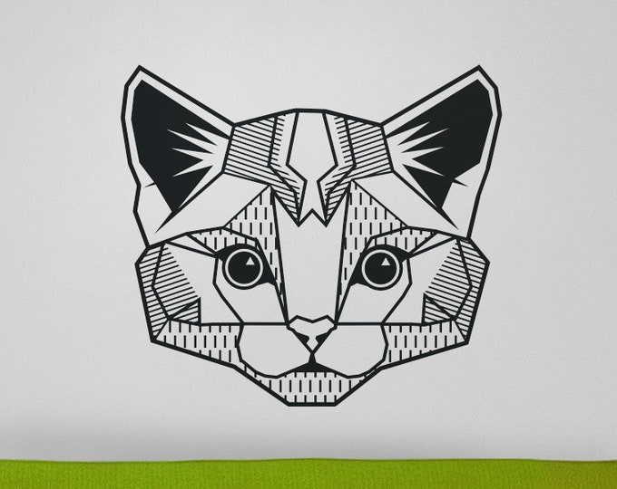 cat wall decal, geometric cat decal, abstract feline wall sticker, kitty art, cat meme, geometric animal art, pet wall decal