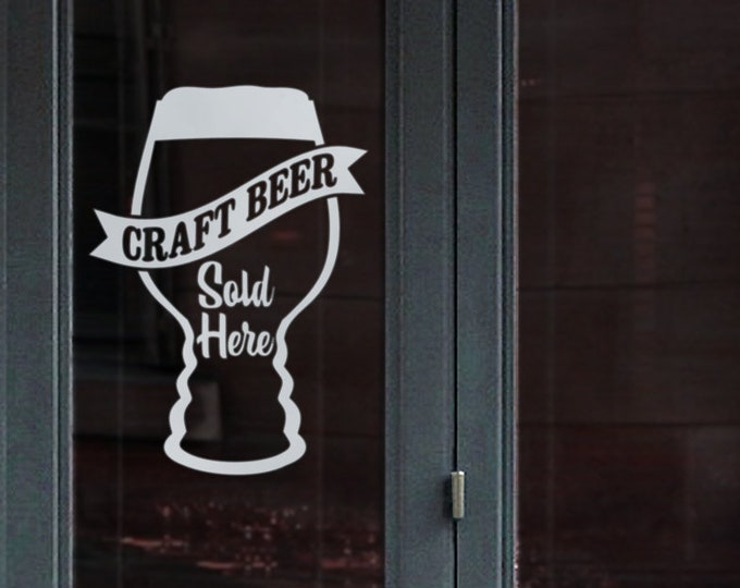 craft beer window decal sign, craft beer pub signage, beer bar window sticker sign, beer bar sign, pub decal
