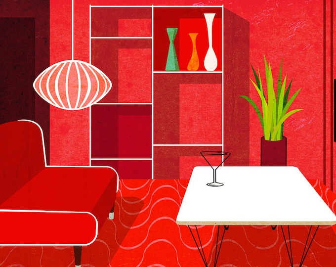 Red interior clip art- mid century architecture, interior design, red room art, royalty free clip art, INSTANT DOWNLOAD